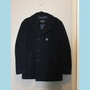 London Fog Men's Double Breasted Wool Navy Pea Coat | Size M